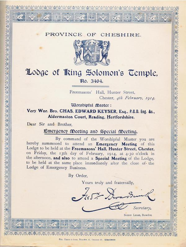 Lodge Summons for 13 February 1914