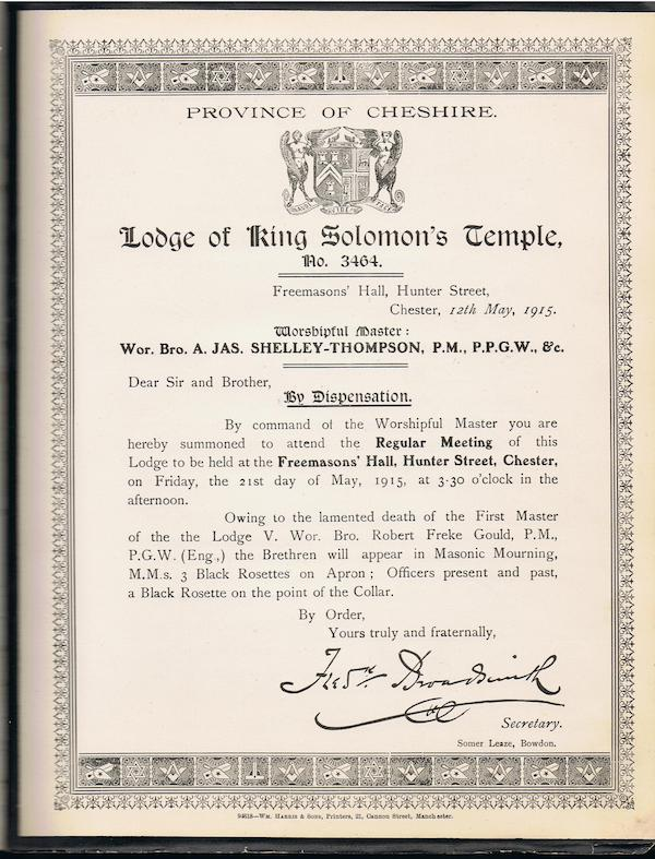 Lodge Summons for 21 May 1914