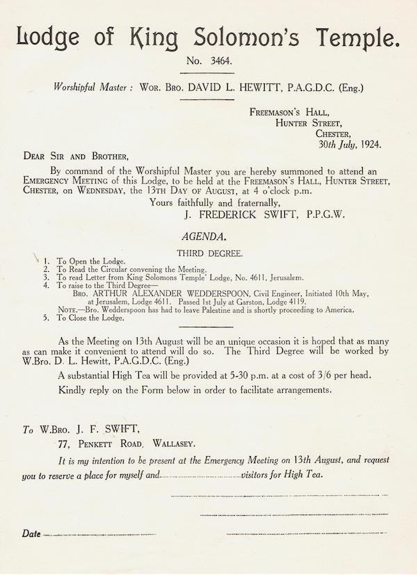 Notice of the Emergency Meeting 1924